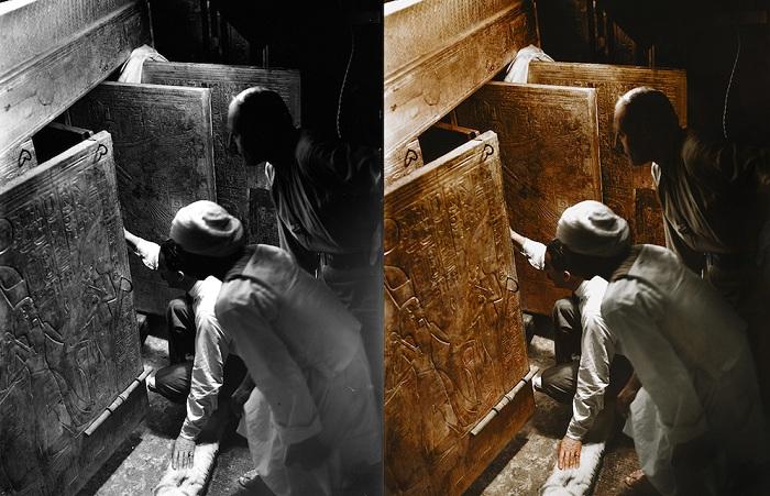 Открытие гробницы фараона. Колоризованное фото.