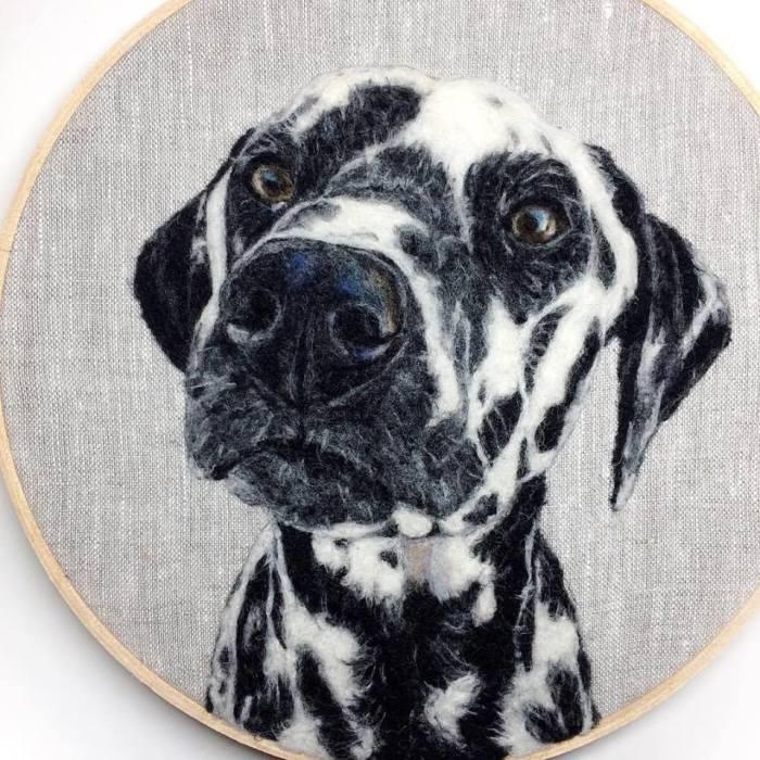 Черно-белый пятнистый пес. Автор Dani Ives.