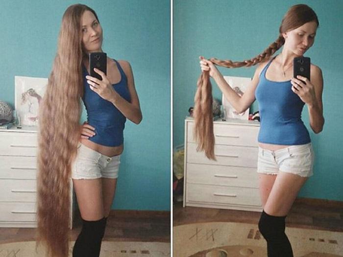 Дарья Губанова демонстрирует свои длинные волосы. | Фото: i42.woman.ru.