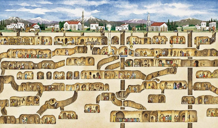 Схема катакомб древнего города Деринкую. | Фото: ic.pics.livejournal.com.
