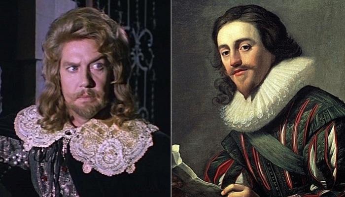 Слева: Алексей Кузнецов в роли герцога Бекингема, справа: Джордж Вильерс, 1-й герцог Бекингем.
