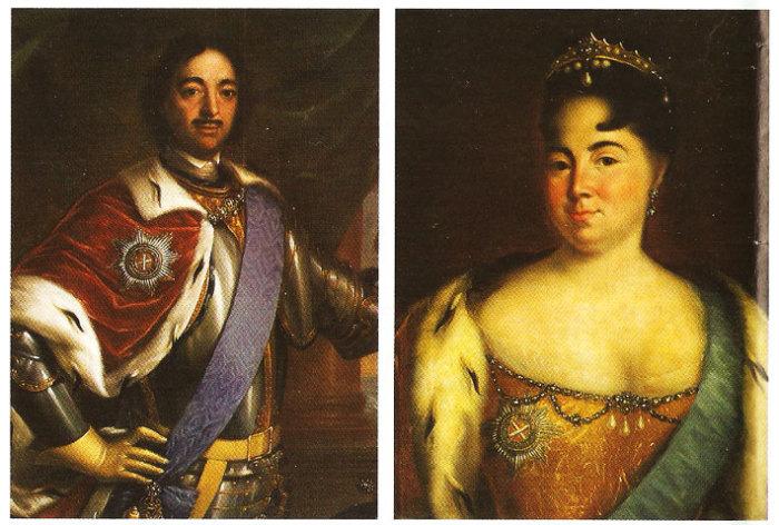 Портреты Екатерины I и Петра I. | Фото: shkolazhizni.ru.