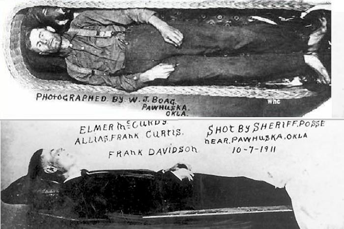Фотографии мумии Элмера Маккерди в 1911 и 1926 годах.