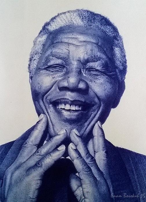 Портрет Нельсона Манделы. Шариковая ручка.