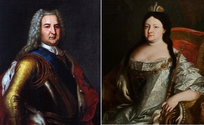 Императрица Анна Иоанновна и ее фаворит Эрнст Иоганн Бирон.