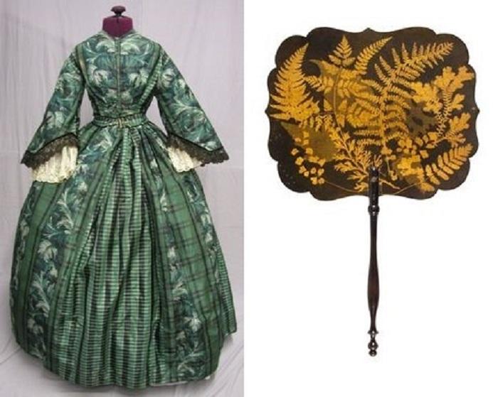 Платье и веер с принтом «папоротник». | Фото: pikabu.ru.