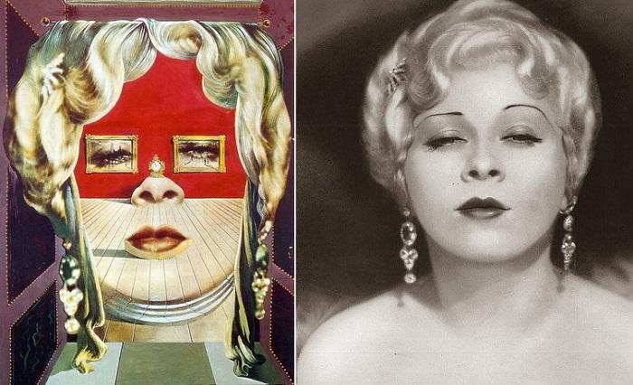 Слева: Картина, написанная Сальвадором Дали, справа: голливудская актриса Мэй Уэст.