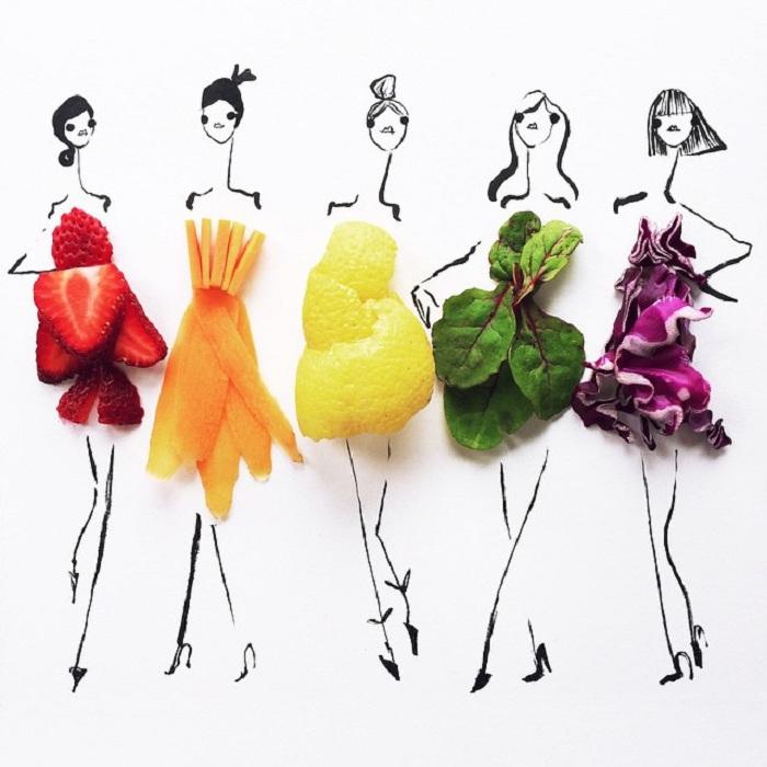 Забавные эскизы одежды, выполненные из настоящих продуктов.