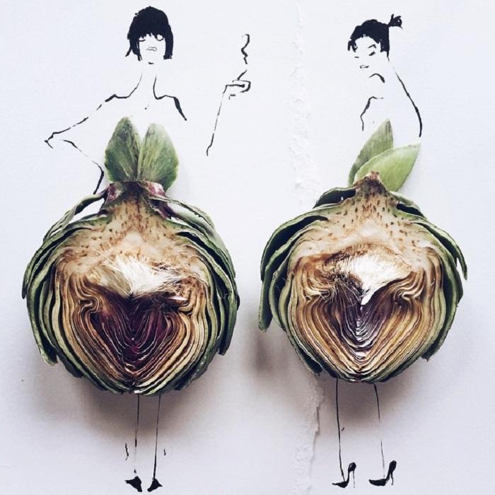 Эскизы модной одежды из брокколи.