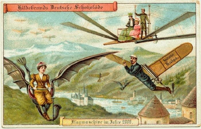 Представления о будущем людей в 1900 году. Полеты в небе