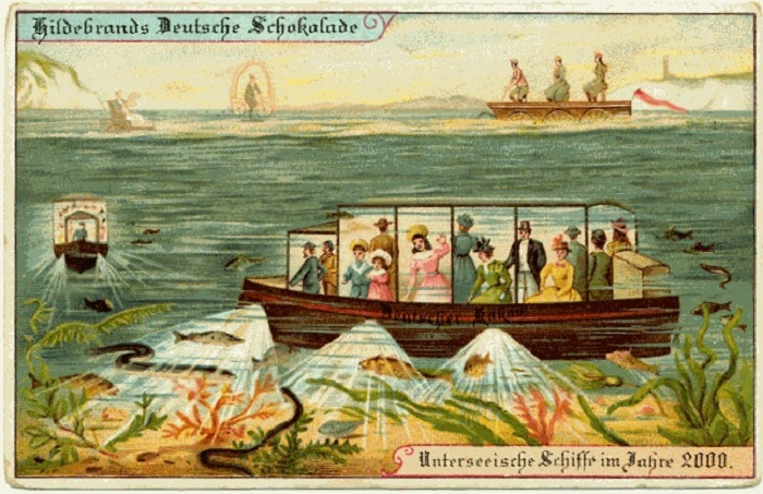 Представления о будущем людей в 1900 году. Подводные лодки.