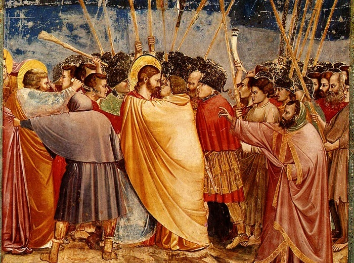 Поцелуй Иуды. 1303-1305 гг. Фреска в Капелле Скровеньи в Падуе. Джотто.