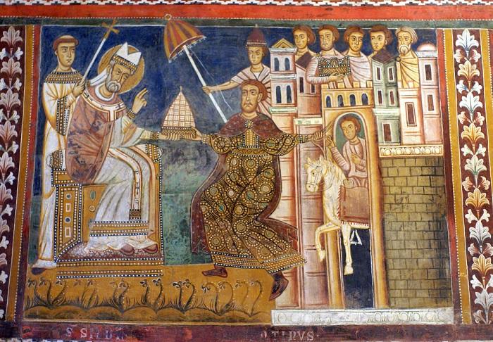 Пожертвования Константина. XIII век. Фреска в монастыре Санти-Куаттро-Коронати в Риме. | Фото: farm1.staticflickr.com.
