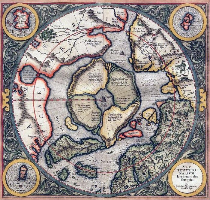 Древняя карта с возможным месторасположением Гипербореи. | Фото: perevalnext.ru.