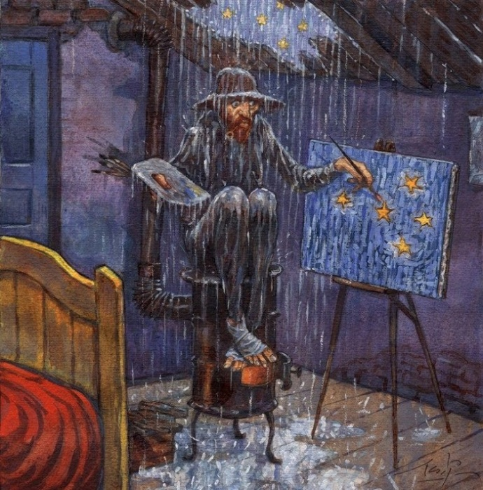Как создавалась картина «Звездная ночь» по версии карикатуриста. | Фото: tanjand.livejournal.com.