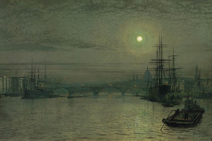 Лондонский мост ночью. Д. Э. Гримшоу, 1884 год. | Фото: fiveminutehistory.com.