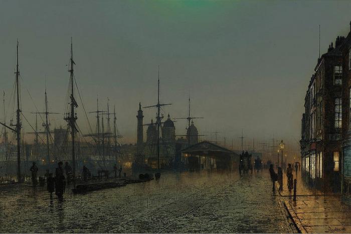 Доки ночью. Д. Э. Гримшоу. | Фото: fiveminutehistory.com.