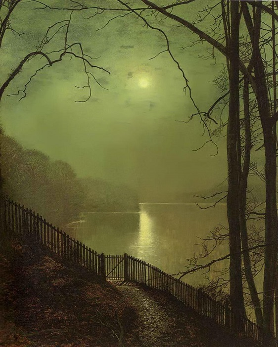 Лунный свет на озере. Д. Э. Гримшоу. | Фото: fiveminutehistory.com.