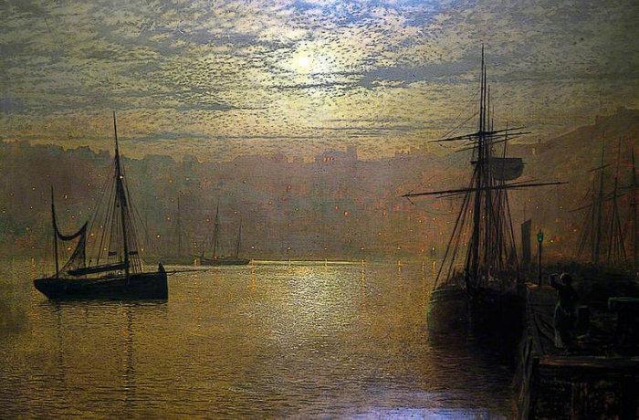 Огни в гавани, Скарборо. Д. Э. Гримшоу, 1879 год. | Фото: fiveminutehistory.com.