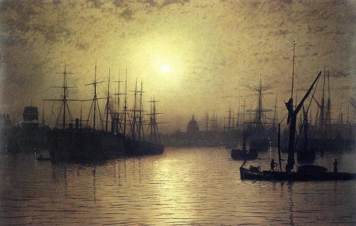 Сумерки на Темзе. Д. Э. Гримшоу, 1880 год. | Фото: fiveminutehistory.com.