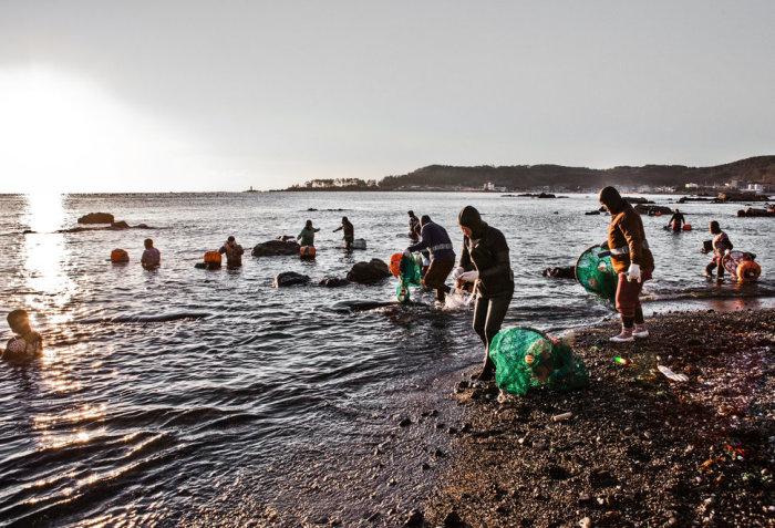 На острове Чеджу живут пожилые ныряльщицы. | Фото: huffingtonpost.com.