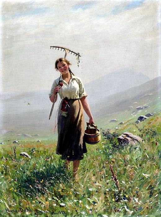 Девушка на лугу. Ханс Даль, 1894 год. | Фото: fiveminutehistory.com.