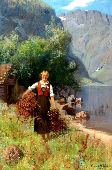 Девушка возле фьорда. | Фото: fiveminutehistory.com.