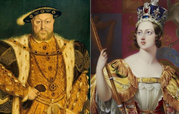 Английский король Генрих VIII и британская королева Виктория.