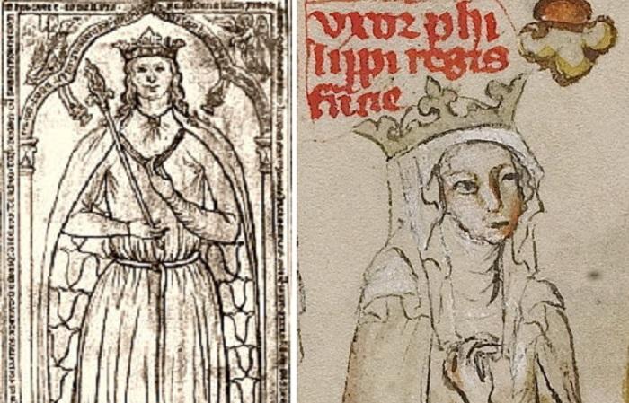 Изображения принцессы Ингеборги и Агнессы Меранской.