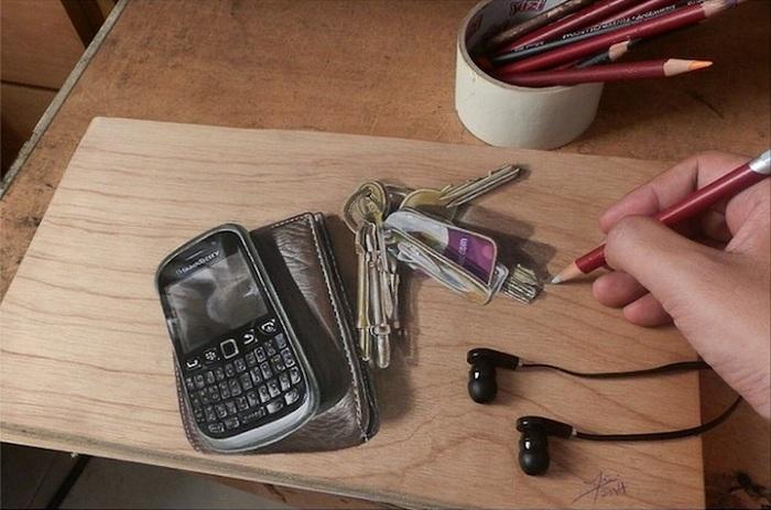 Гиперреалистичное изображение, нарисованной обычными карандашами.