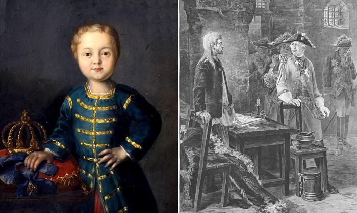 Иоанн VI Антонович - ребенок-император, на всю жизнь заточенный в темнице.