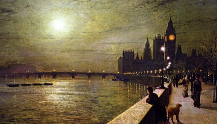 Размышления на Темзе, Вестминстер. Д. Э. Гримшоу, 1880 год. | Фото: fiveminutehistory.com.