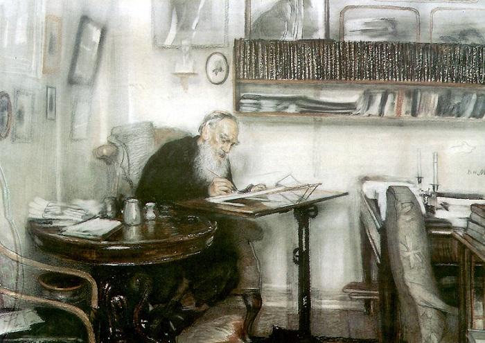 Лев Николаевич Толстой за работой. | Фото: bagnenko.name.