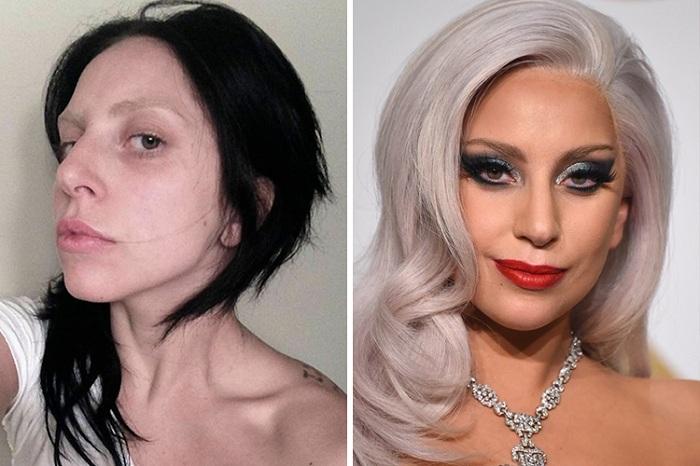 Кажется, что Леди Гага с макияжем и без - это две разные личности.