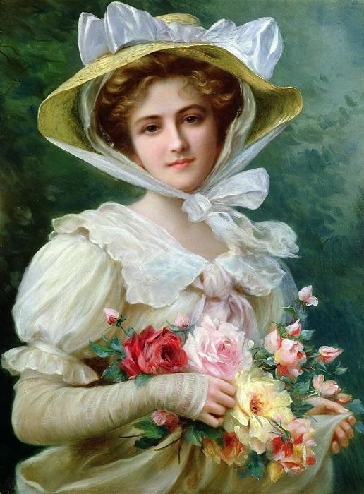 Элегантная леди с букетом роз. Emile Vernon. | Фото: fiveminutehistory.com.