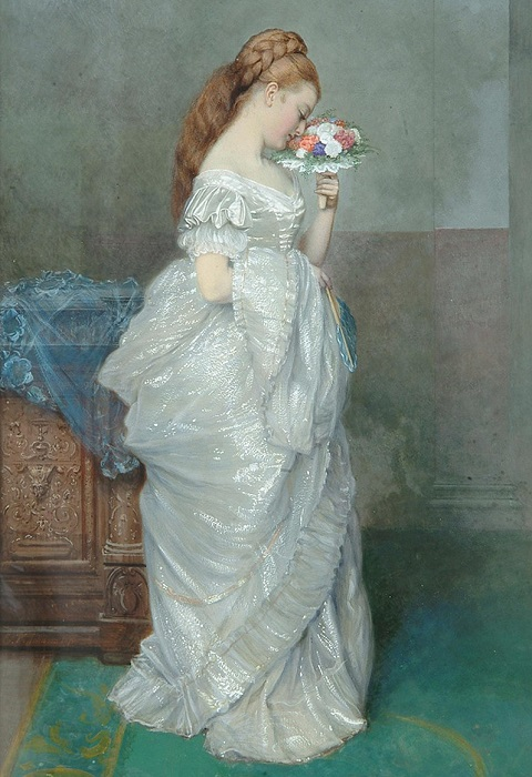 Девушка с букетом. Edward Killingworth Johnson. | Фото: fiveminutehistory.com.