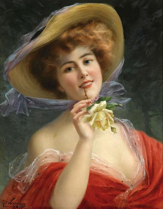Девушка с розой. Emile Vernon. | Фото: fiveminutehistory.com.