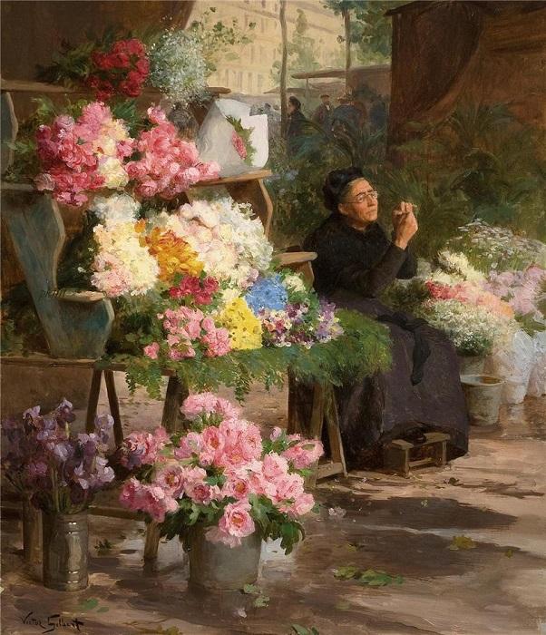 Продавщица цветов. Victor Gabriel Gilbert. | Фото: fiveminutehistory.com.