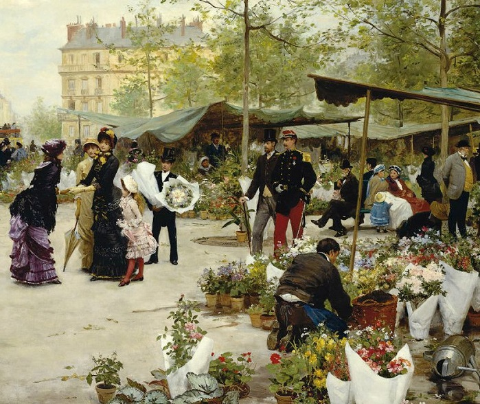 Нижний рынок. Victor Gabriel Gilbert, 1881 год. | Фото: fiveminutehistory.com.