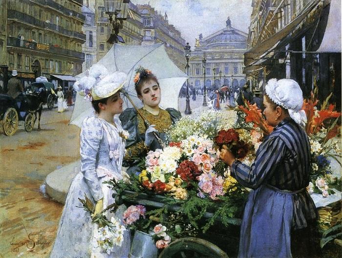 Продавец цветов. Авеню Опера. Louis Marie de Schryver, 1891 год. | Фото: fiveminutehistory.com.