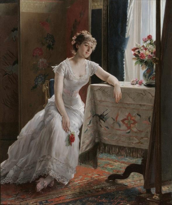 Девушка с розой. Gustave-Leonard de Jonghe. | Фото: fiveminutehistory.com.
