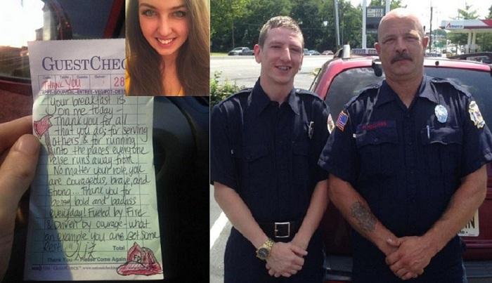 Девушка написала что-то на чеке пожарных.