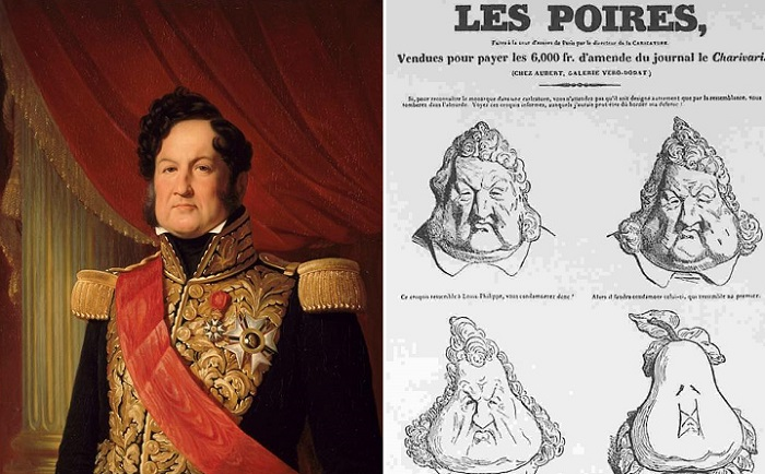 Король Франции Луи-Филипп Орлеанский и карикатура с его изображением.