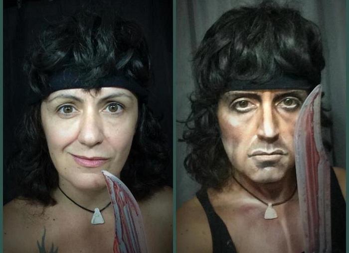 Итальянская художница в образе Рэмбо.