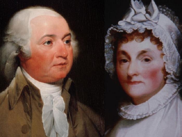 2-й американский президент Джон Адамс и его жена Абигейл Смит.