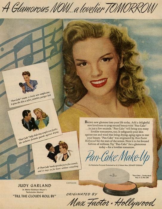 Актриса Джуди Гарланд в рекламе косметических средств от Max Factor. | Фото: masterok.livejournal.com.