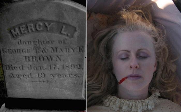 Могила Мерси Браун, которую считают вампиром Род-Айленда.