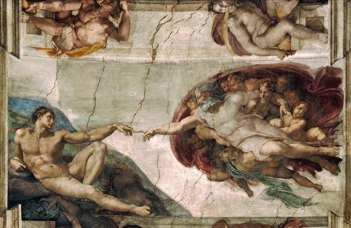 Сотворение Адама. Микеланджело   Фото: fwallpaper.net.