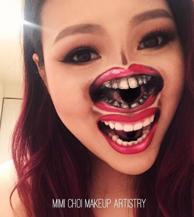 Жутковатый макияж от Mimi Choi. | Фото: ufunk.net.