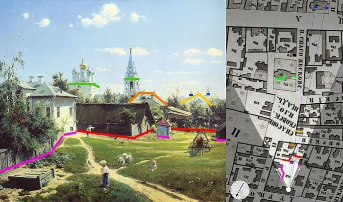 Сопоставление вида московского дворика с картины Василия Поленова 1877 года и карты Хотева 1852 года. | Фото: wanderings.online.